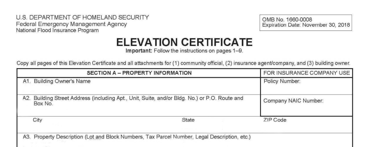 Flood Elevation Certificate